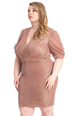 Ribbed Shimmer Shirring Mini Dress