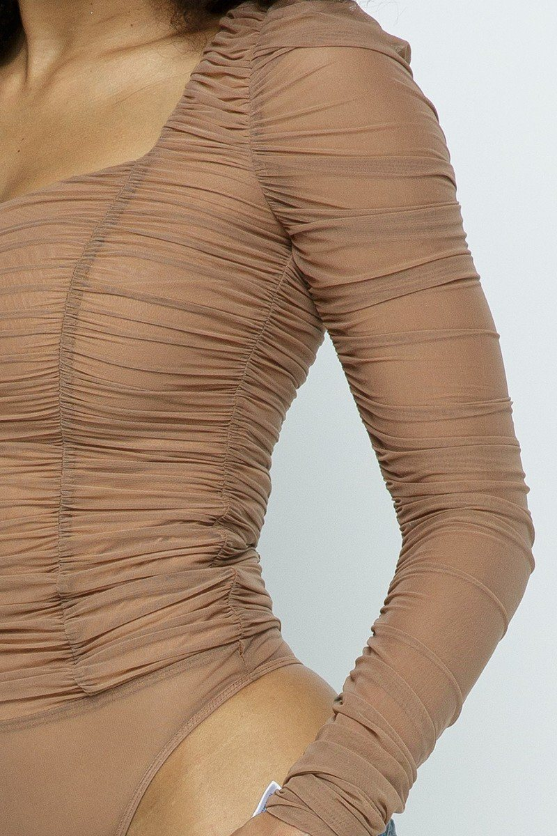 Ruched Wrinkle Bodysuit