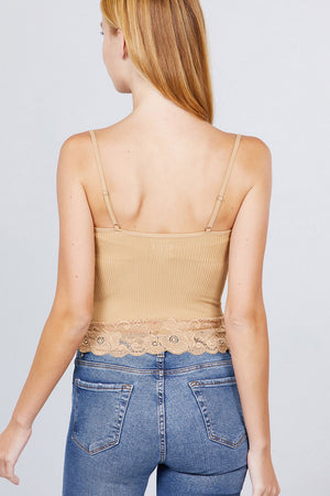 Seamless Lace Trim V-neck Cami