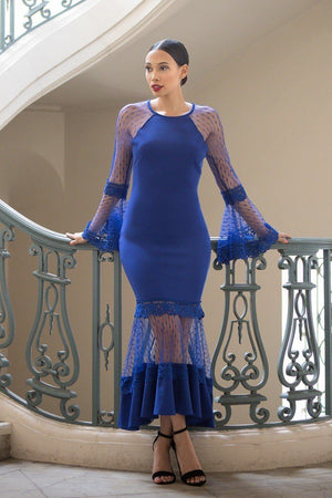 Bell Sleeve Mesh Combined Dress