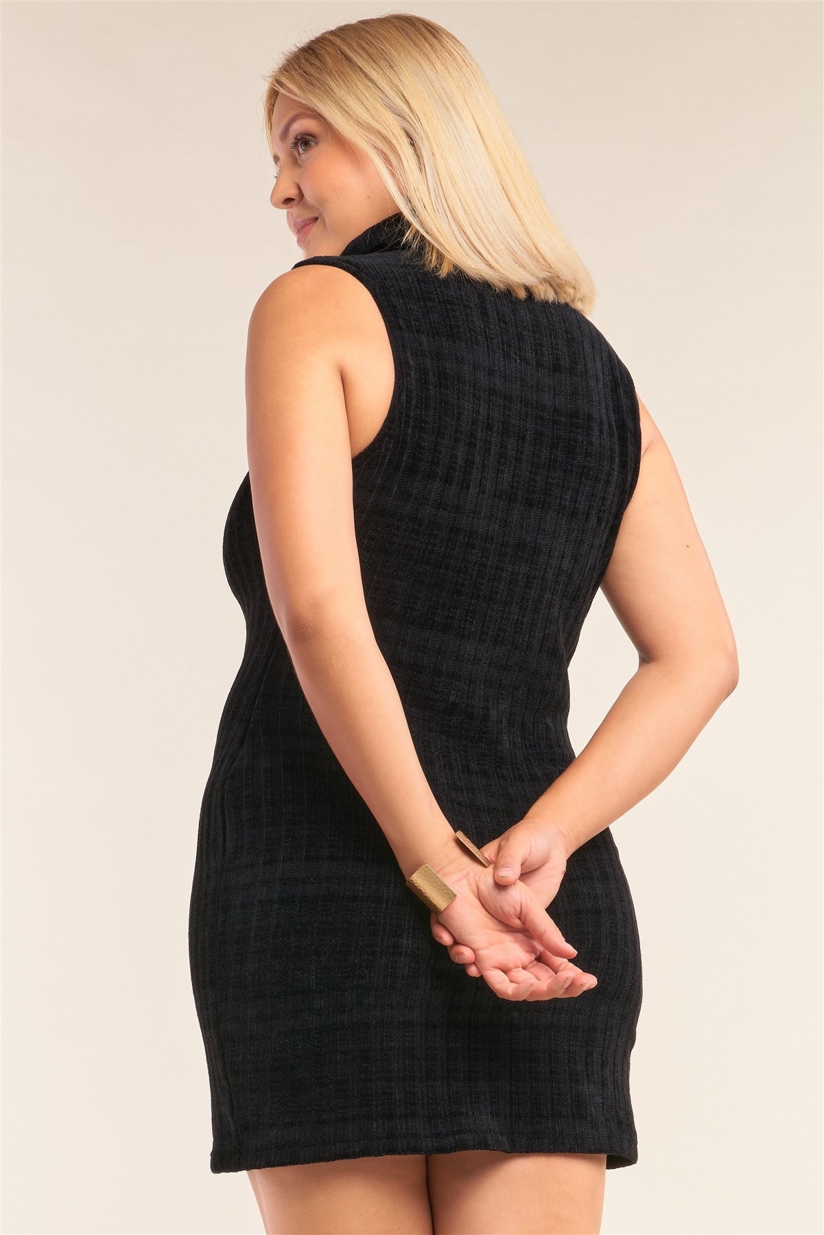 Ribbed Knit Semi-turtleneck Mini Dress