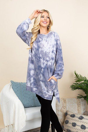 Ultra Cozy Tie Dye French Terry Brush Oversize Casual Pullover