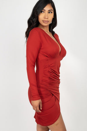 Ruched Wrapped Bodycon Dress