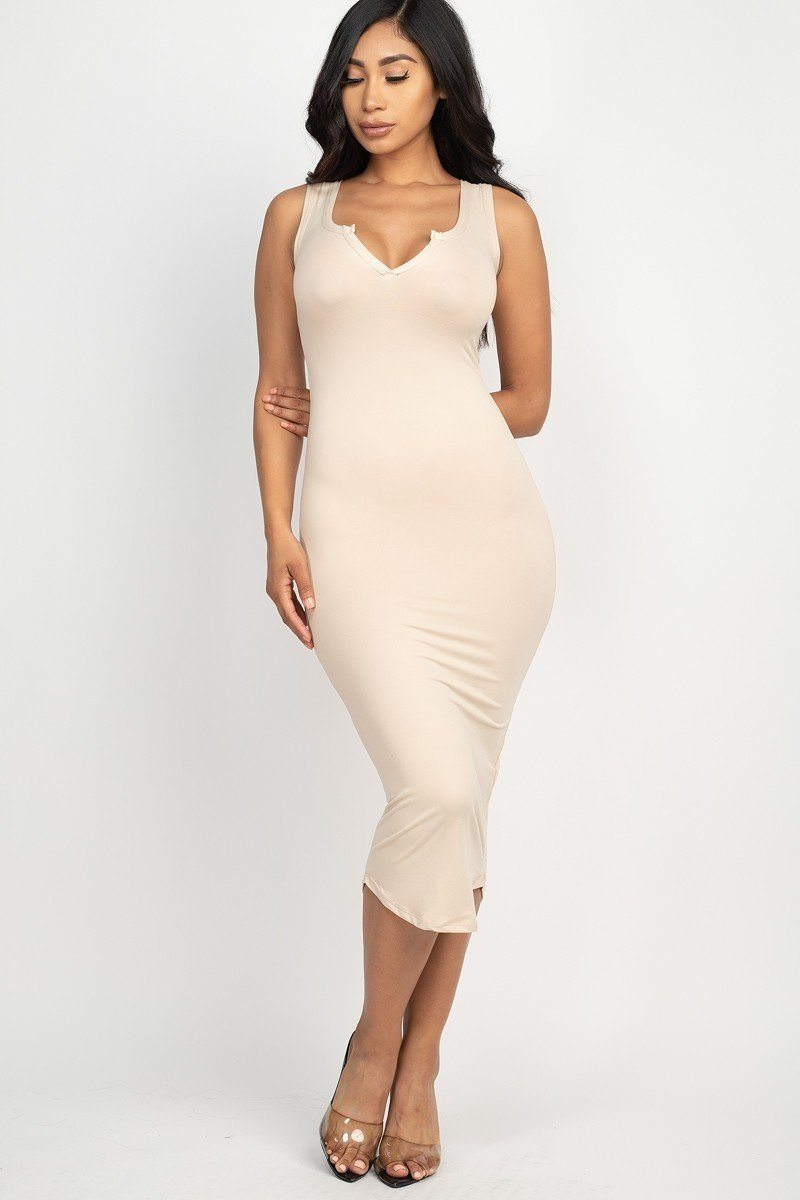 Split Neck Racer-back Bodycon Dress