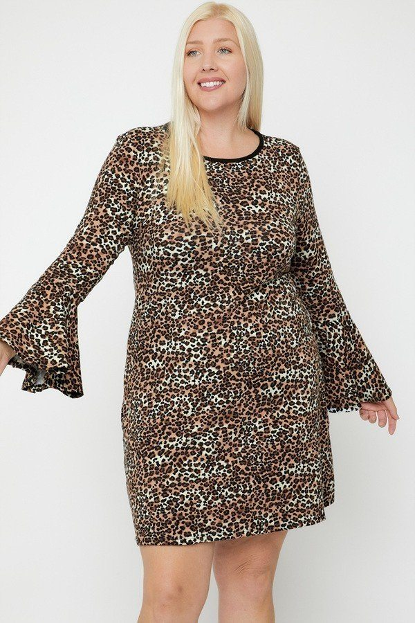 Bell Sleeve Cutie Print Dress