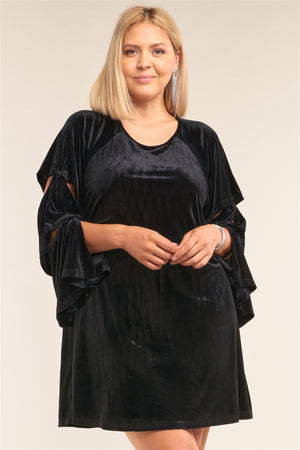 Juliet Black Velvet Relaxed Fit Cut-out Dress