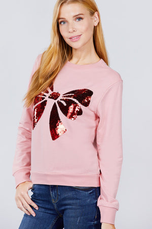 Sequin Bow Embroidered Pullover
