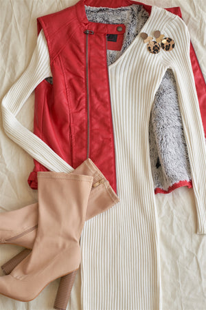 Red Vegan Leather Triple Zip-up Detail Moto Vest