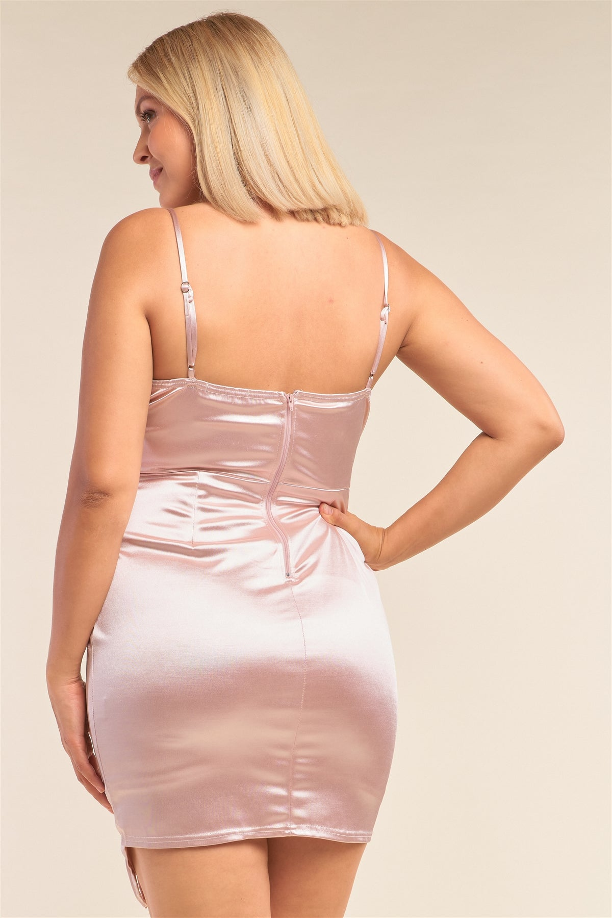 Asymmetrical Fitted Satin Cocktail Mini Dress