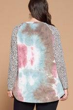 French Terry Tie Dye Casual Color Block Top