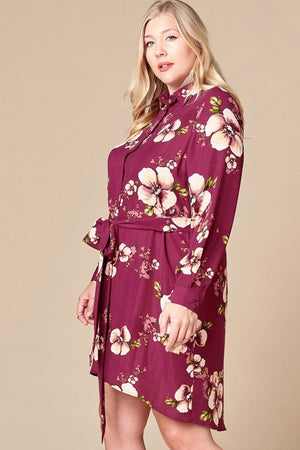 Button-down Floral Shirt Dress