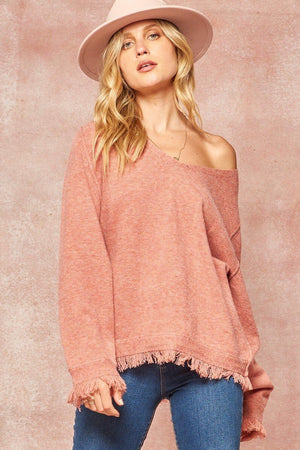 Solid Knit Ruffle Hem Sweater