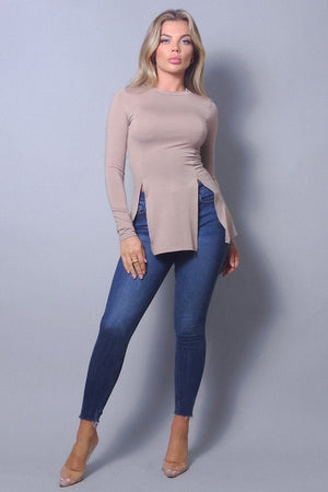 Chic Long Sleeve Slitted Top
