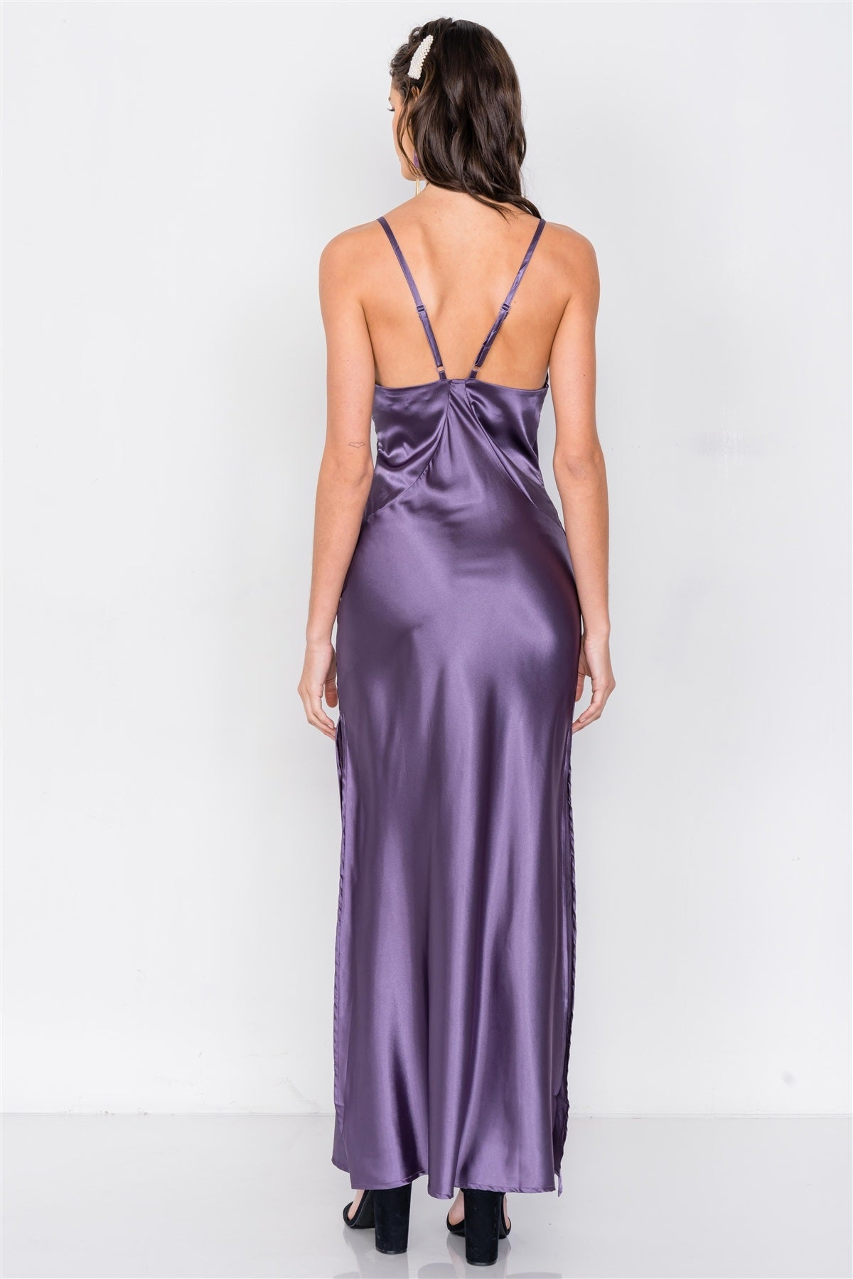 Satin Elegant Double Slit Sleeveless Maxi Dress