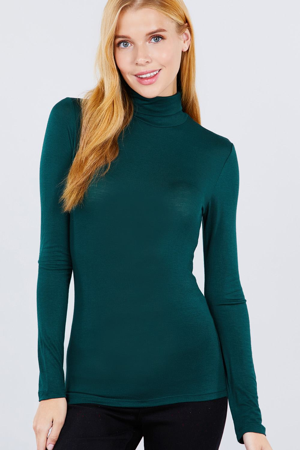 Rayon Jersey Turtle Neck Top