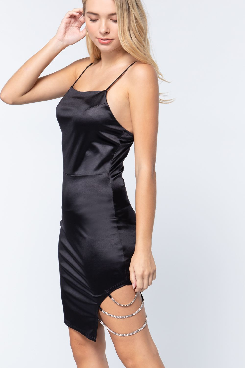Satin Jewel Strap Cami Mini Dress
