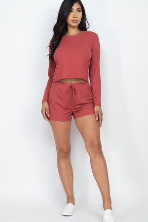 Solid Color Cropped 2PC Short Set