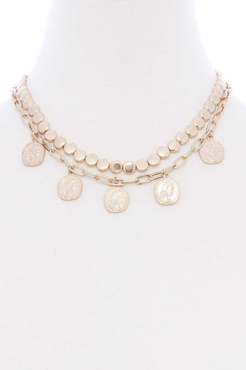 Double Layered Coin Charm Necklace