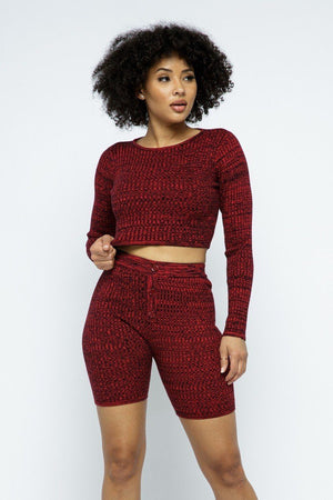 Knit Cropped Top And High-waist Biker Short Set