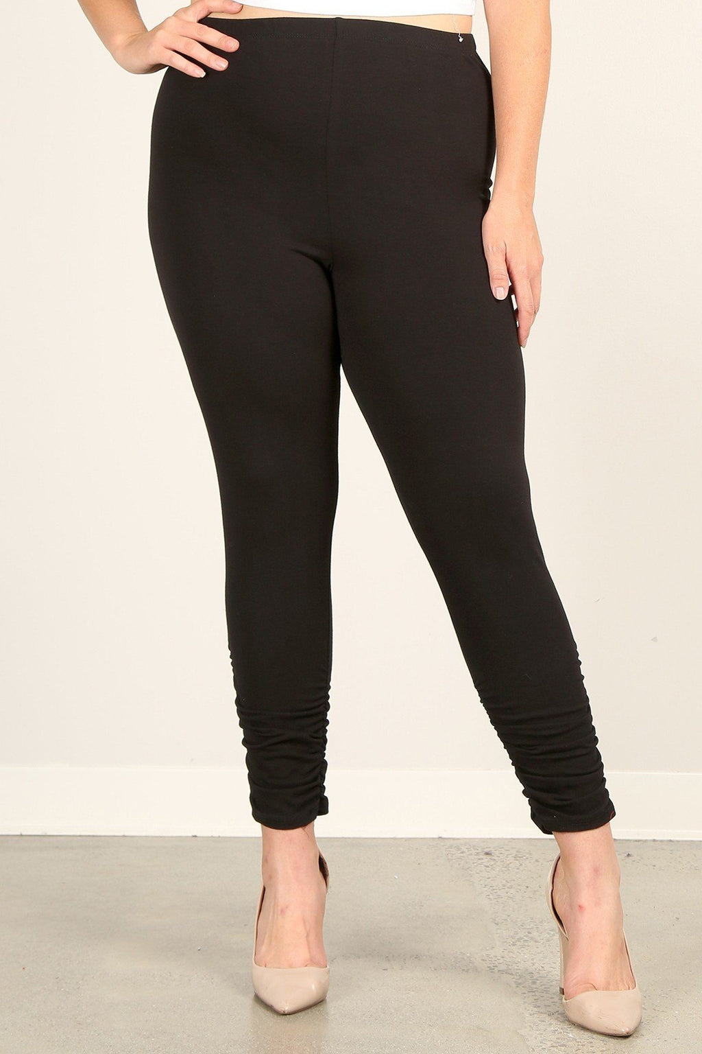 Solid High Rise  Fitted Ruched Leggings Pants
