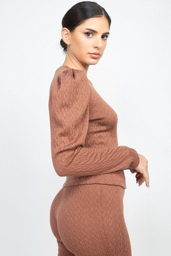 Ribbed Knit Puff Sleeve 2PC Set