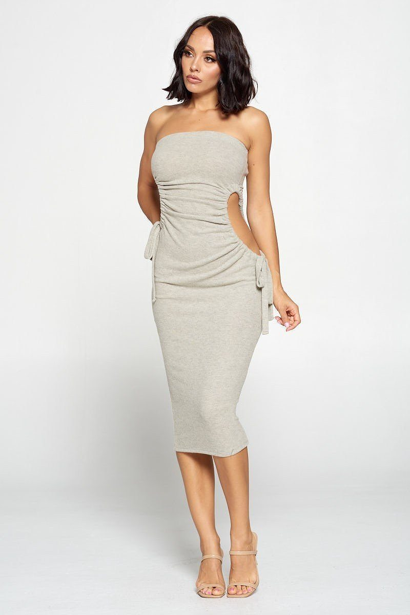 Strapless Ruched Cut Out Bodycon Dress