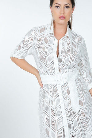 Hi-Low Belted Lace Shirt Dress