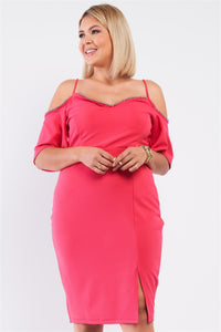 Coral Pink Off-the-shoulder Silver Ball Beaded Hem Dress