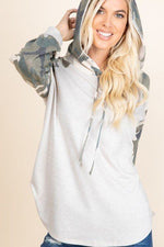 Solid French Terry  Camo Sleeves  Hoodie