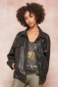 Faux Leather Bandana-style Paisley Print Back Jacket
