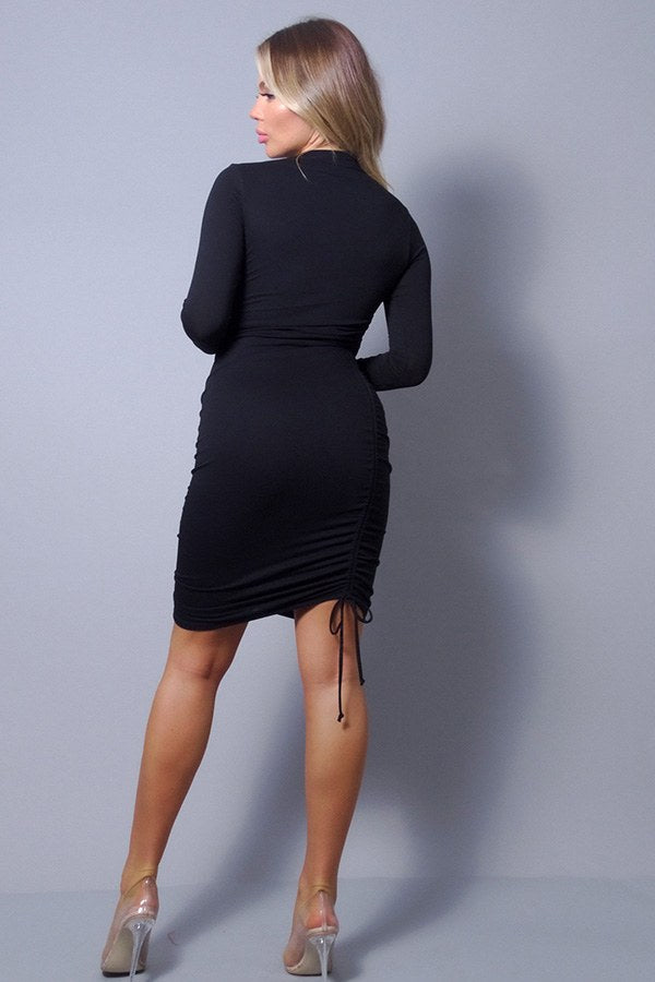 Long Sleeve Mock Neck Ruching Dress