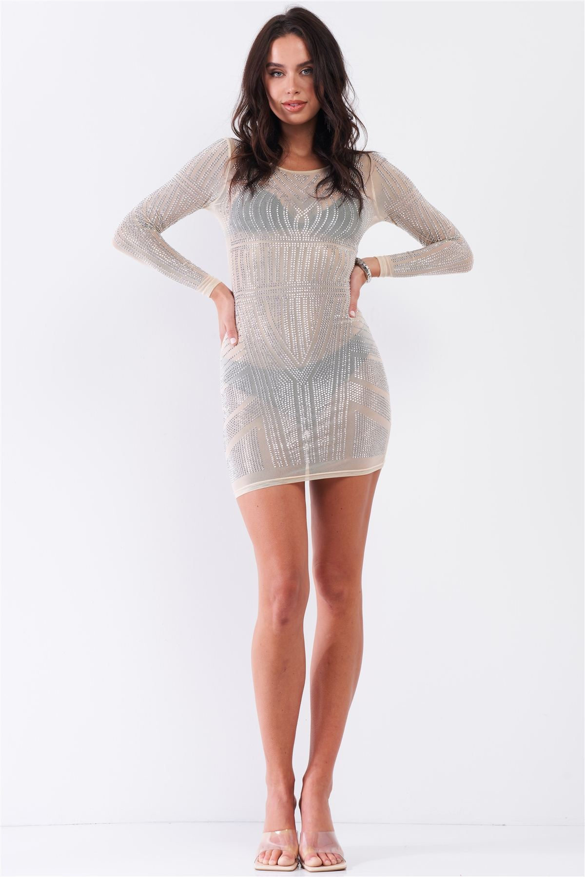 Nude Rhinestone Studded Sheer Bodycon Dress