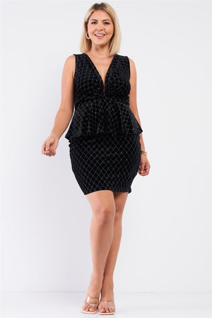 Quilted Glitter Print Gathered Mini Dress