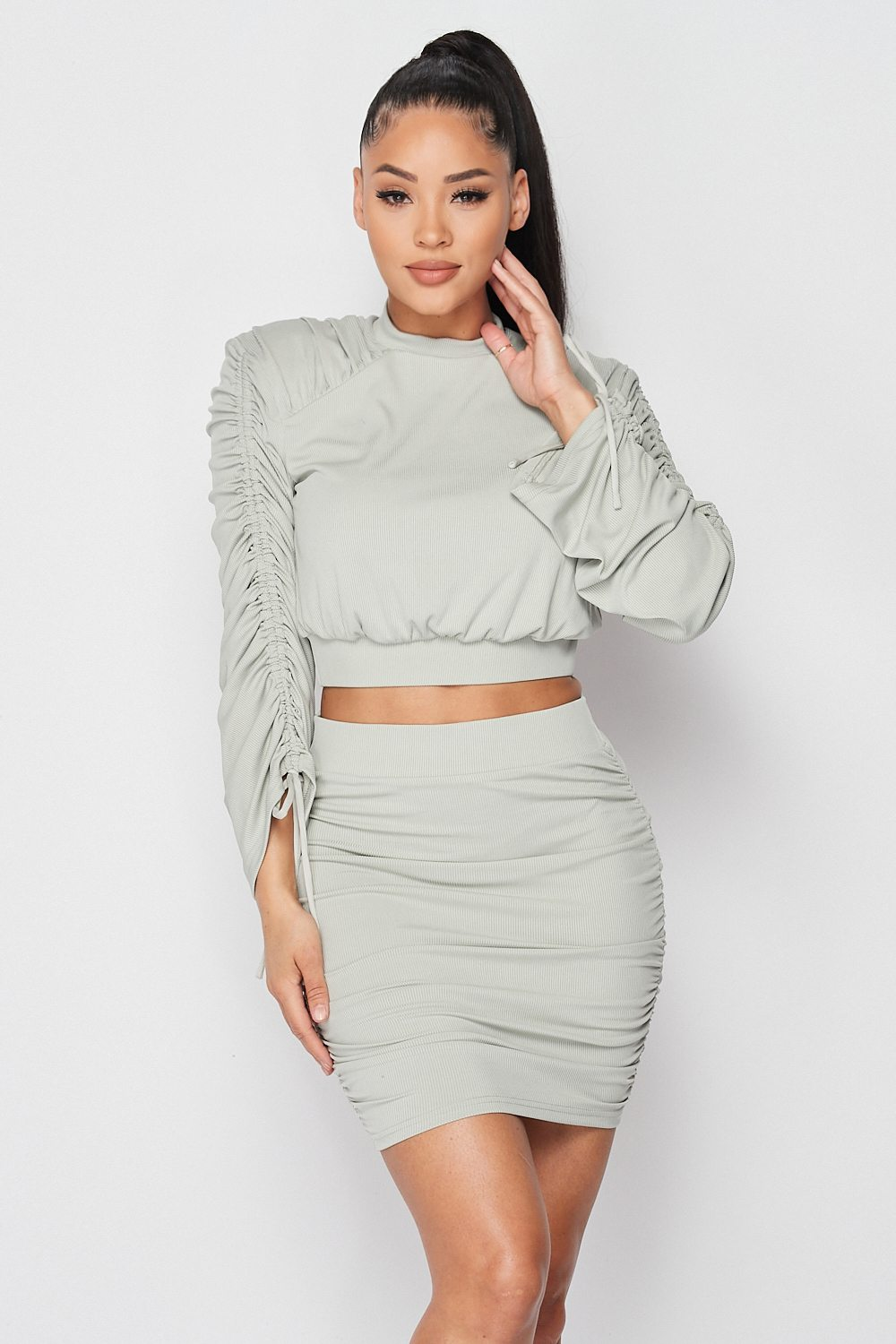 Solid Ruched Long Sleeve Skirt Set