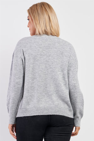 Heather Grey Soft Ribbed Fleece Sweater