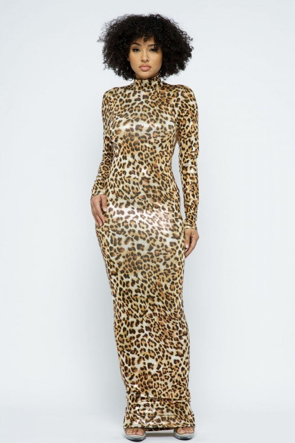 Foil Mock Neck Animal Print Body Con Maxi Dress