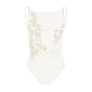 Aria Bodysuit (ecru) - delicately beaded power mesh design