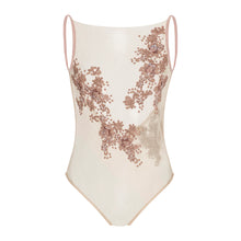Aria Bodysuit (blush) - delicately beaded power mesh design