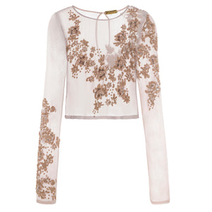Rosa Blouse (blush) - cropped blouse with lengthened sleeves, delicately beaded