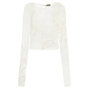 Rosa Blouse (ecru) - cropped blouse with lengthened sleeves, delicately beaded