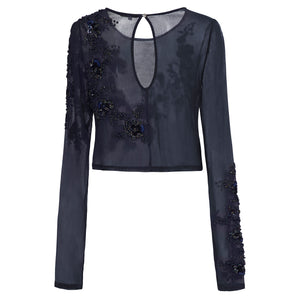 Rosa Blouse (navy) - cropped blouse with lengthened sleeves, delicately beaded