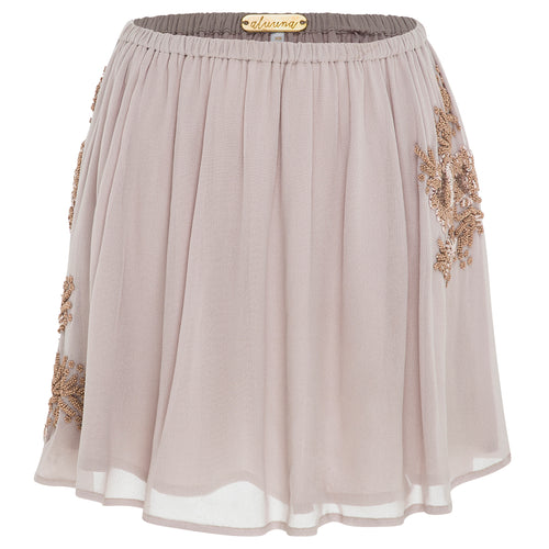 Mia Mini (blush) - playful georgette mini skirt hand beaded