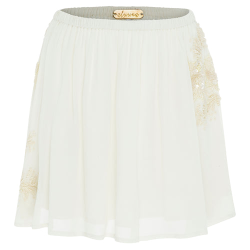 Mia Mini (ecru) - playful georgette mini skirt hand beaded