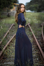 Viola Dress (navy) - long sleeve formal dress, long sleeve georgette dress, beaded