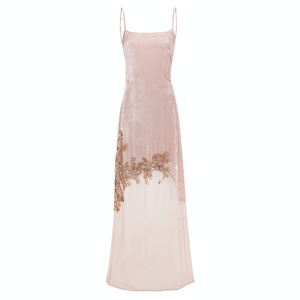 Gia Dress (blush) - Luxury velvet and georgette full length dress