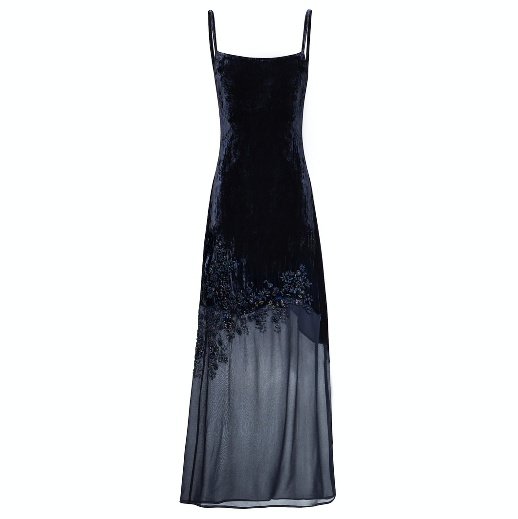 Gia Dress (navy) - Luxury velvet and georgette full length dress