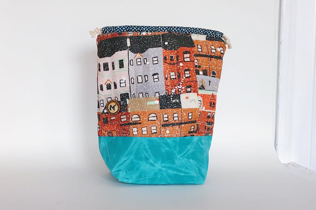 Boston Winter Sock Project Bag w/ Aqua