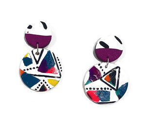 Hannah gloss circle drop earrings