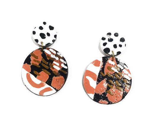 Zara large gloss circle drop earrings