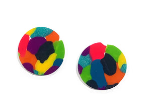 Colour burst large stud earrings